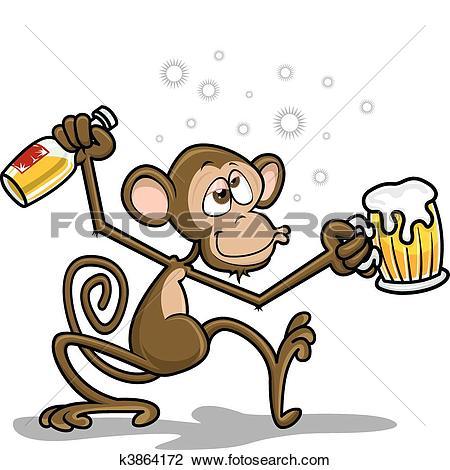 Clipart of Drunk Monkey k3864172.