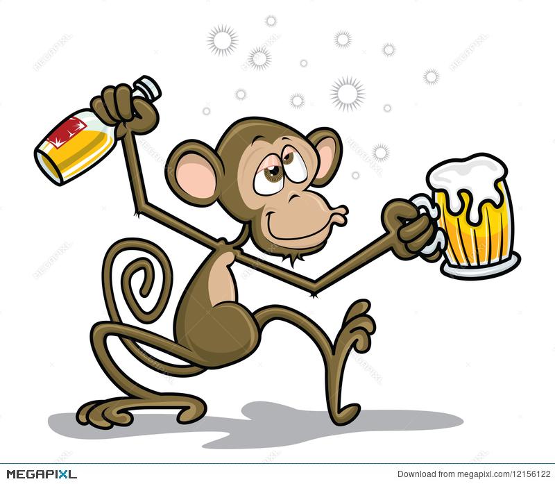 Drunk Monkey Illustration 12156122.