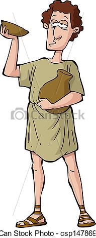 Clipart Vector of Roman drunkard on a white background vector.