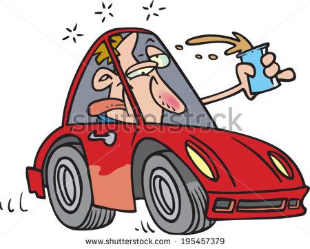 Cartoon Man Drunk Driving Stock Vector 195457379.