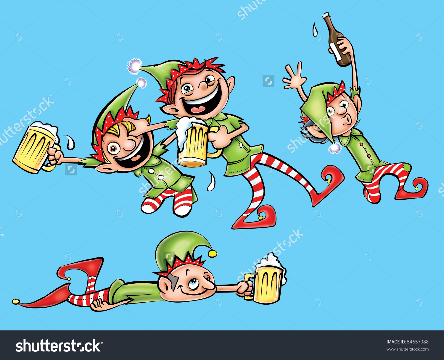 Drunk Elves Stock Illustration 54657988.