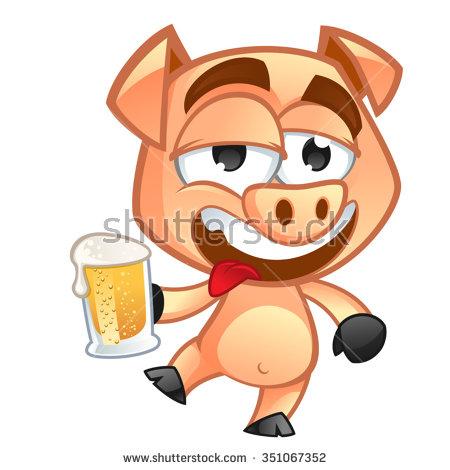 Drunk Pig Stock Photos, Royalty.