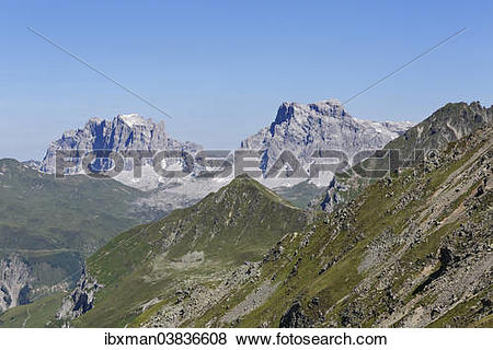"Pictures of ""Mountains Drusenfluh, Drei Turme and Sulzfluh."