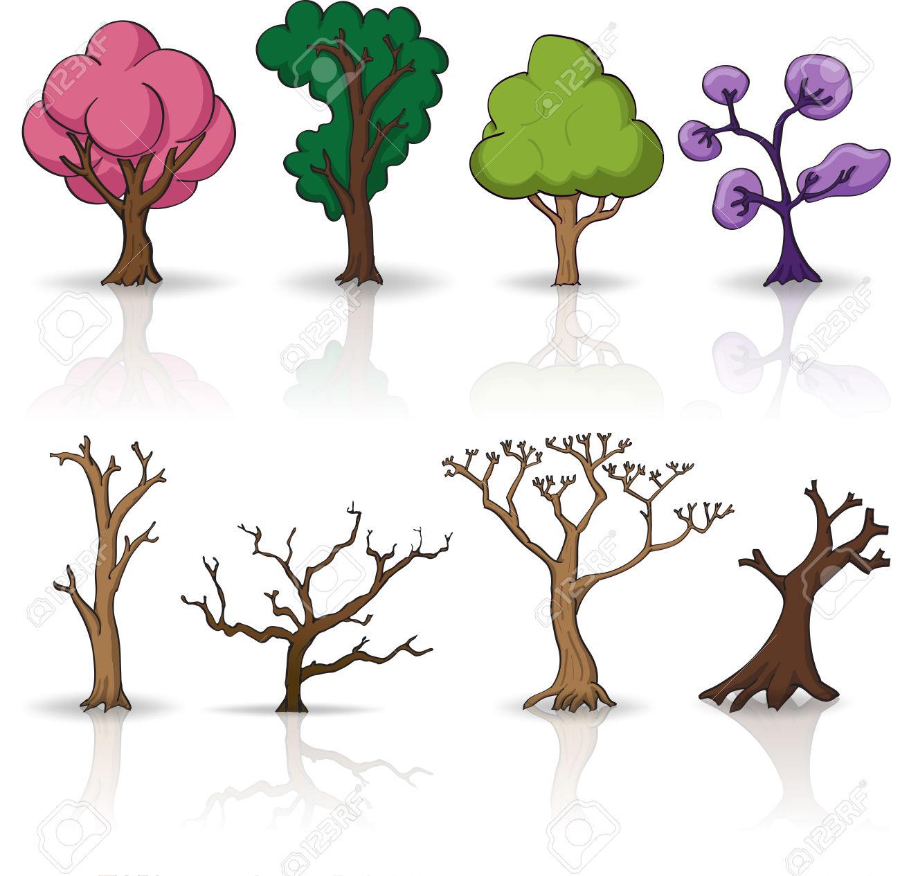 Cartoon Trees, Dry Plants Vector Set With Shadow Royalty Free.