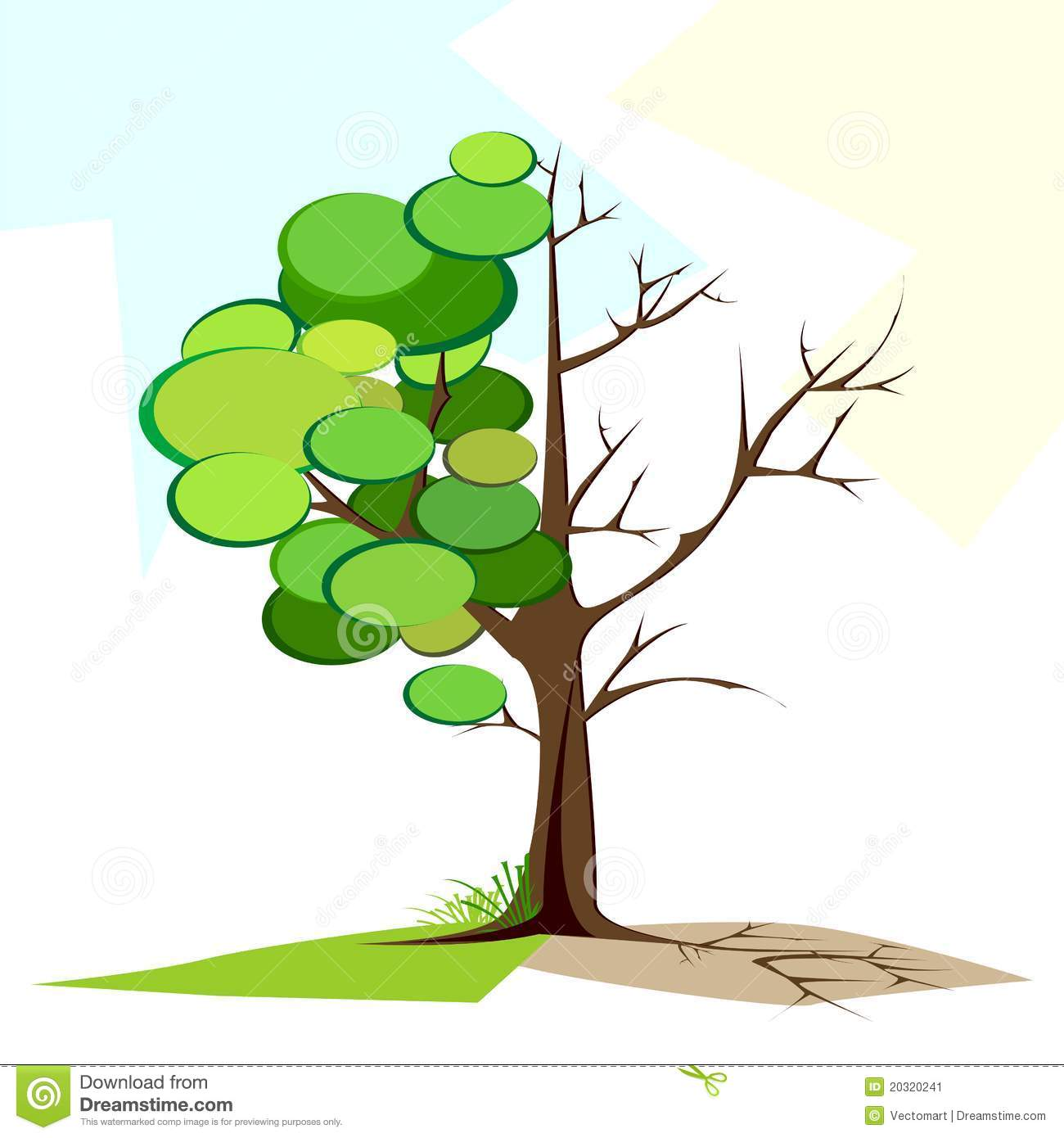 Green And Dry Tree Stock Image.