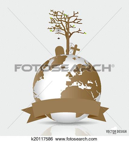 Clip Art of Save the world, Dry tree on a deforested globe. Vector.