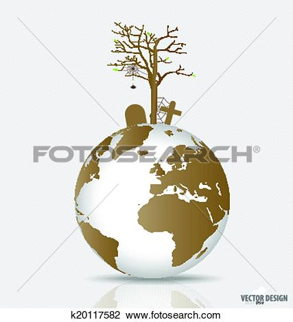 Clipart of Save the world, Dry tree on a deforested globe. Vector.