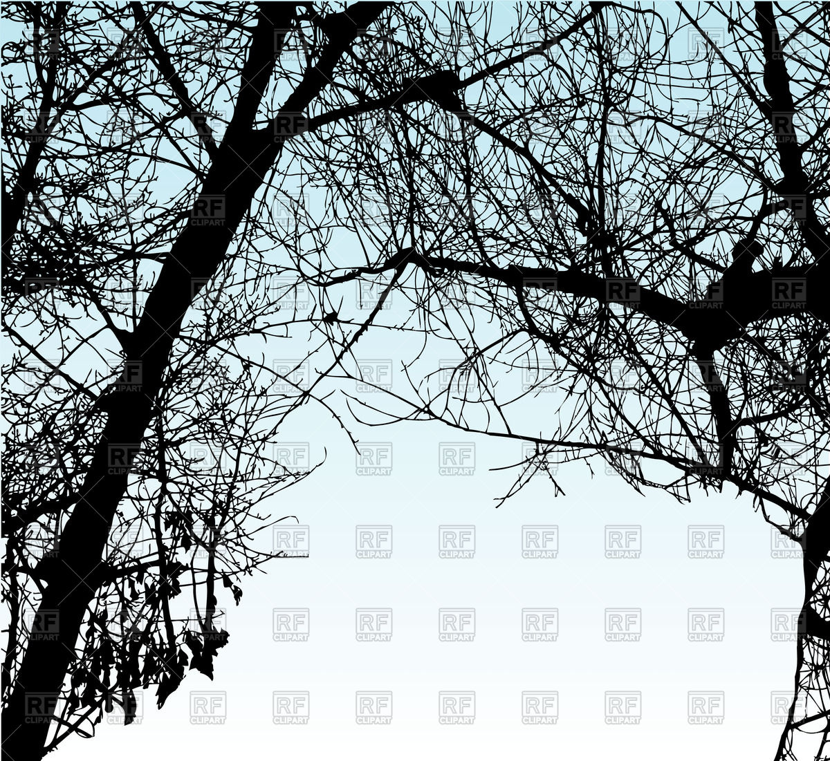 Leafless, dry tree branches Vector Image #58847.