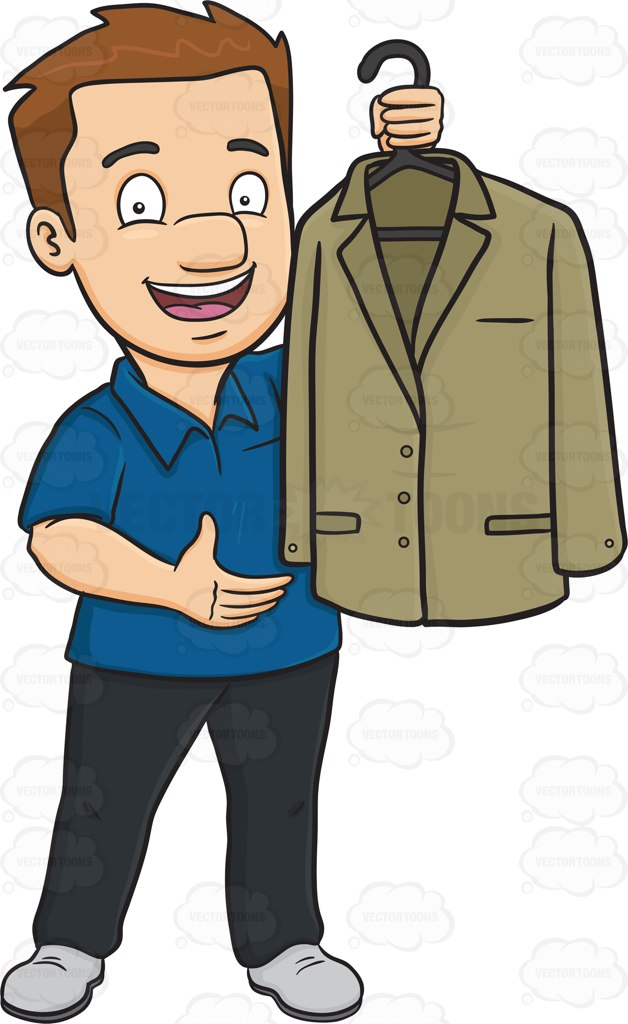 A Man Proudly Shows Off A Clean Dress Jacket Cartoon Clipart.