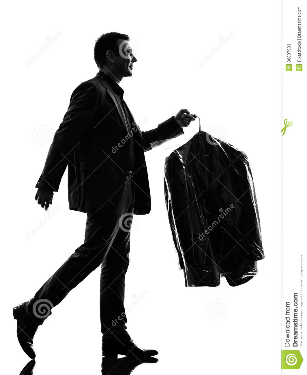 Business Man Holding Dry Clean Clothes Silhouette Stock Photos.