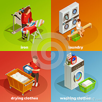 Laundry Isometric Dry Cleaning Composition Stock Vector.