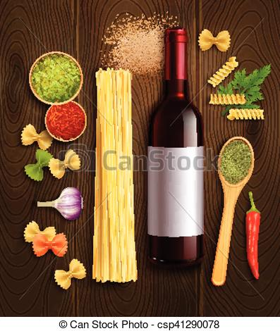Vectors Illustration of Dry Pasta Wine Realistic Composition.