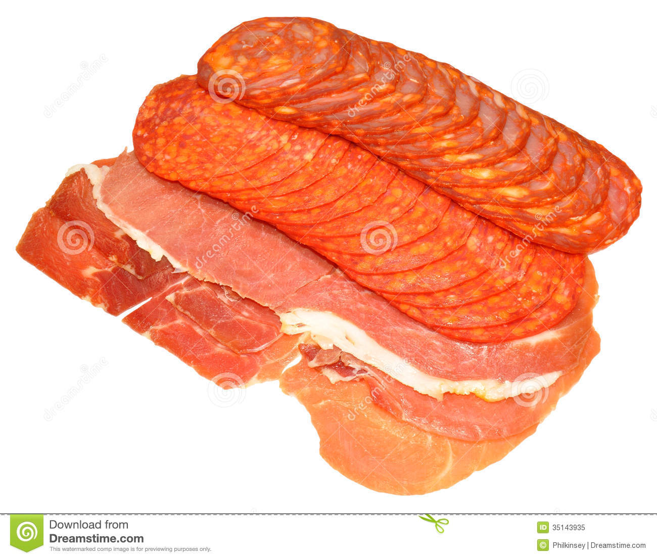 Selection Of Spanish Cured Meats Stock Image.