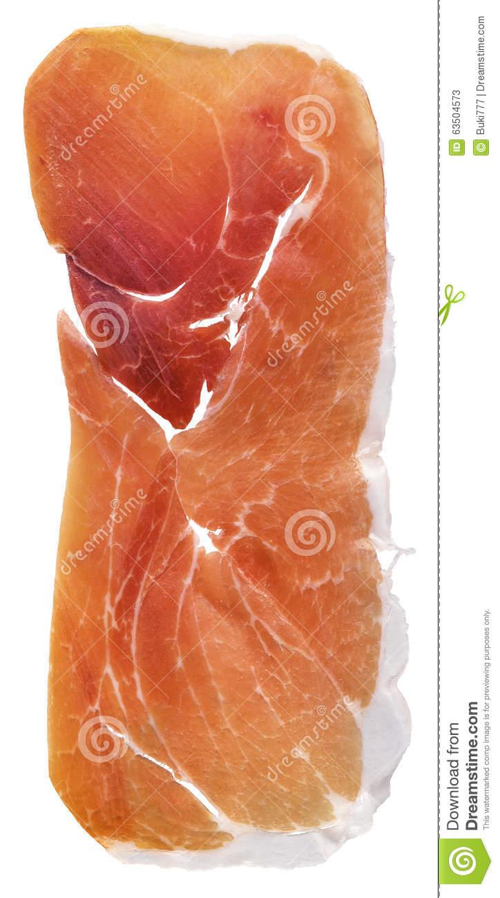 Cured Pork Ham Slice Isolated On White Background Stock Photo.