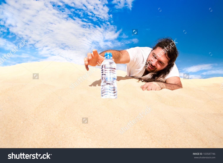Thirsty Man Desert Reaches Bottle Water Stock Photo 103587746.