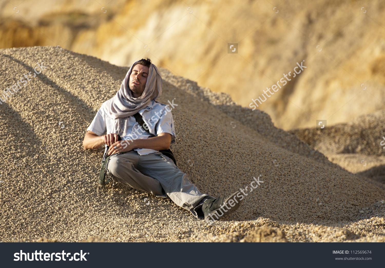 Thirsty Man Desert Stock Photo 112569674.