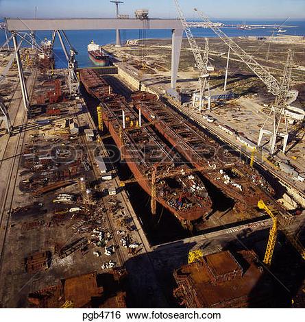 Stock Images of Ship building dry dock. Cadiz, Spain. Modular.