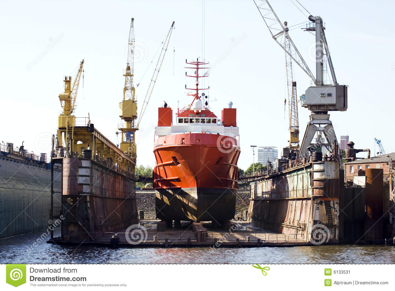 Ship In Floating Dry Dock Stock Image.
