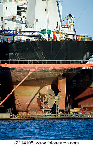 Stock Image of container ship in dry dock k2114105.
