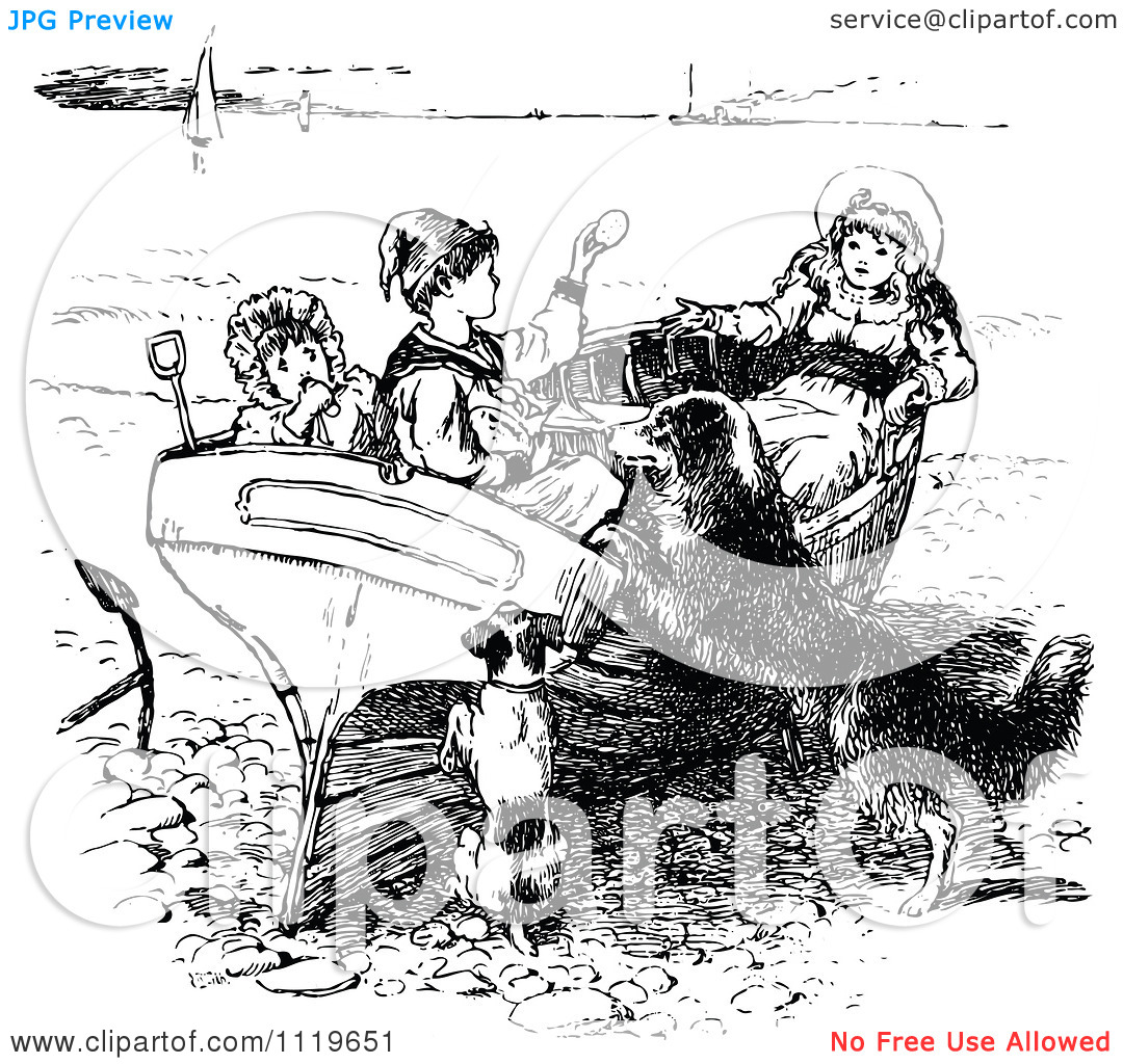Clipart Of Retro Vintage Black And White Children And Dogs Playing.