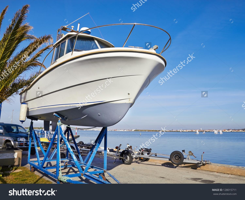 Boat On Repair Dry Dock Stock Photo 128015711.