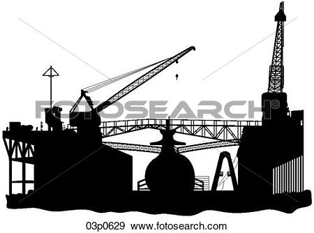 Clip Art of floating dry dock 03p0629.