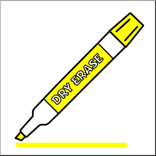 Clip Art: Dry Erase Marker Yellow Color I abcteach.com.