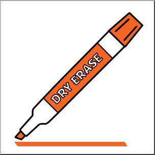 Clip Art: Dry Erase Marker Orange Color I abcteach.com.