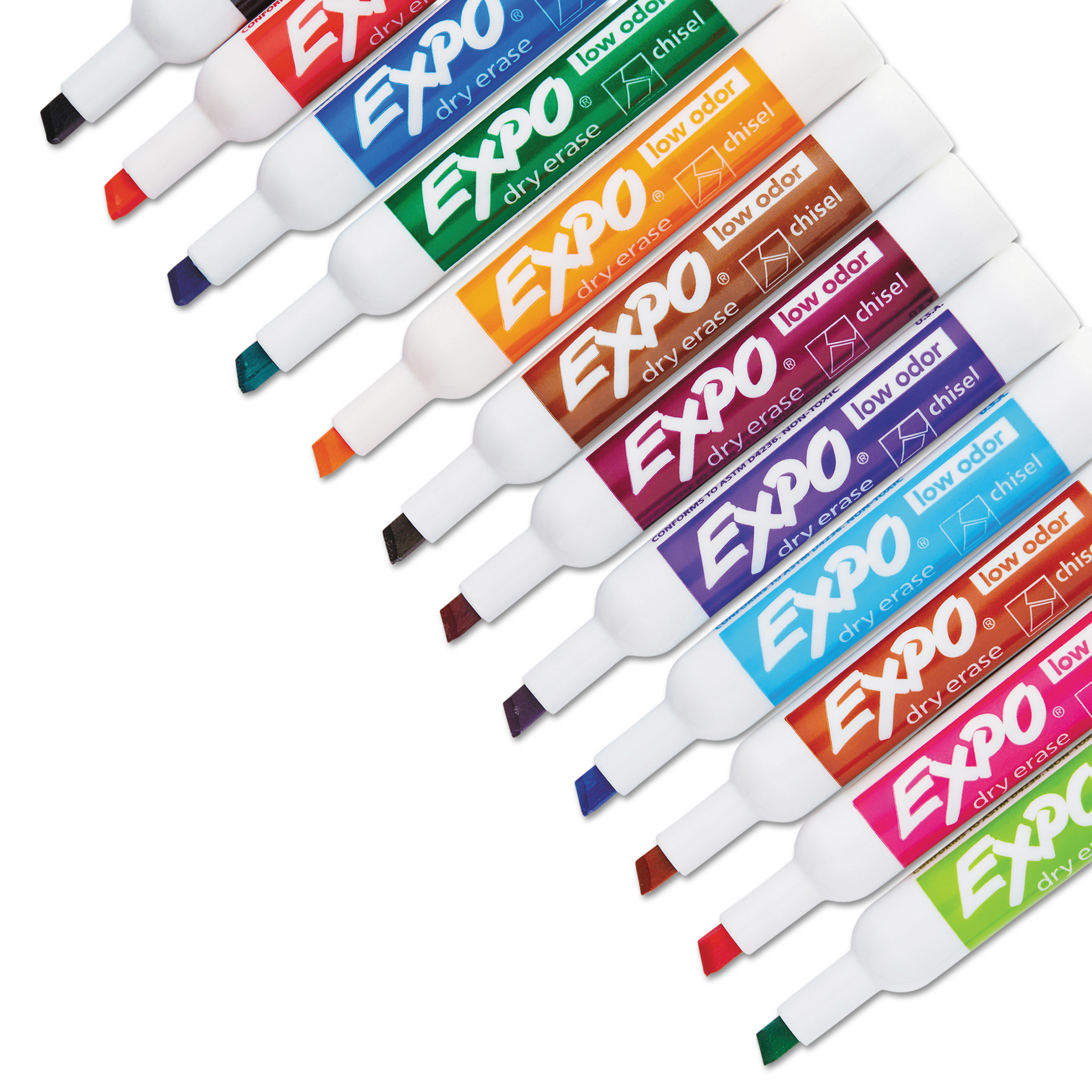 EXPO Low Odor Dry Erase Markers, Chisel Tip, Assorted, 16 Count.