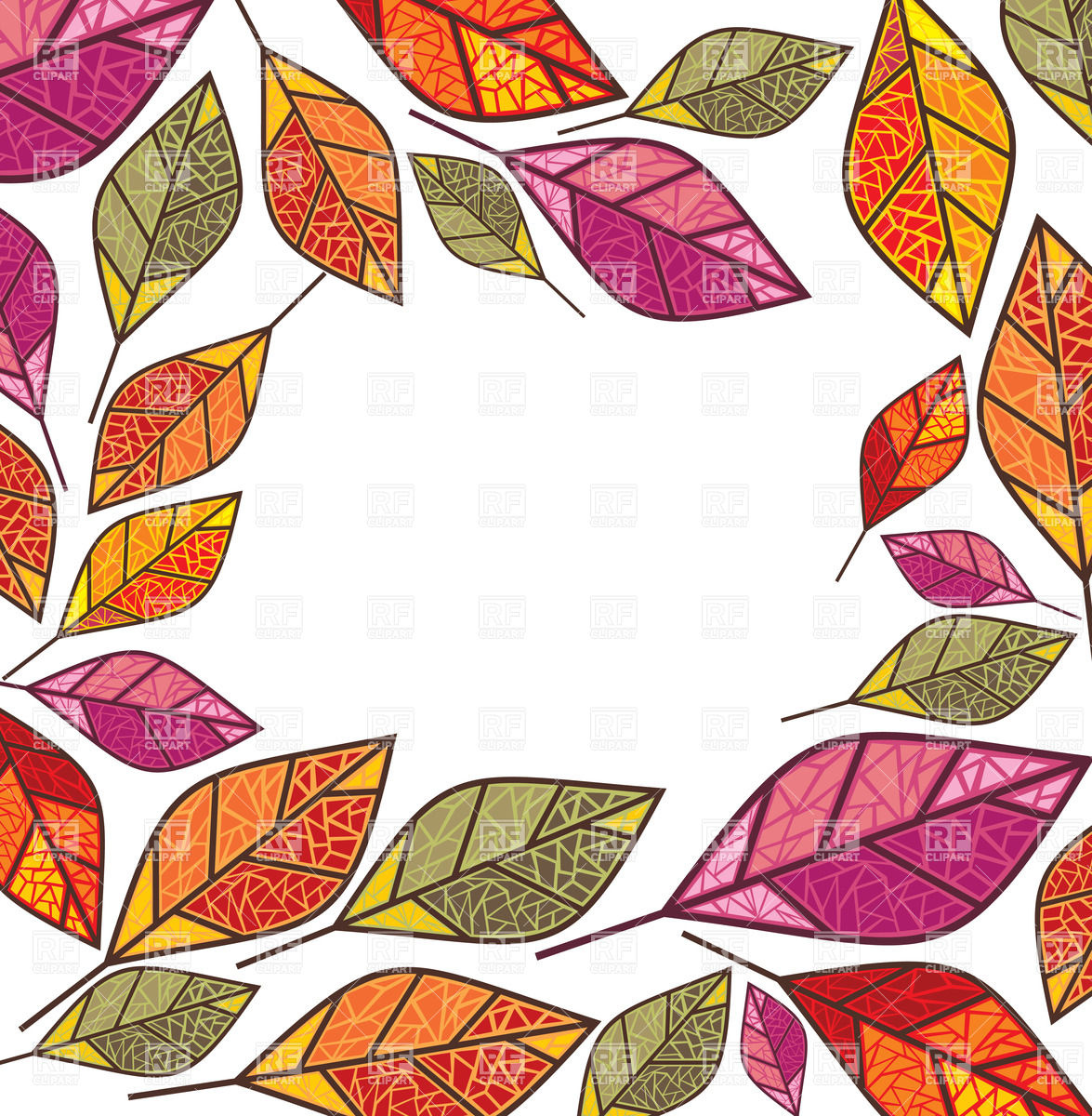 Ornate autumn frame made of dry leaves Vector Image #20377.