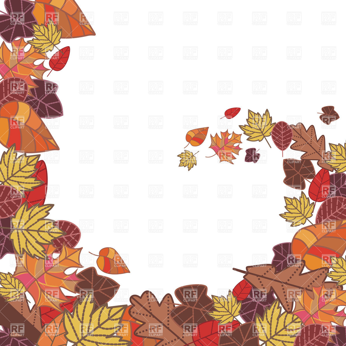Abstract autumn frame made of dry leaves Vector Image #20369.