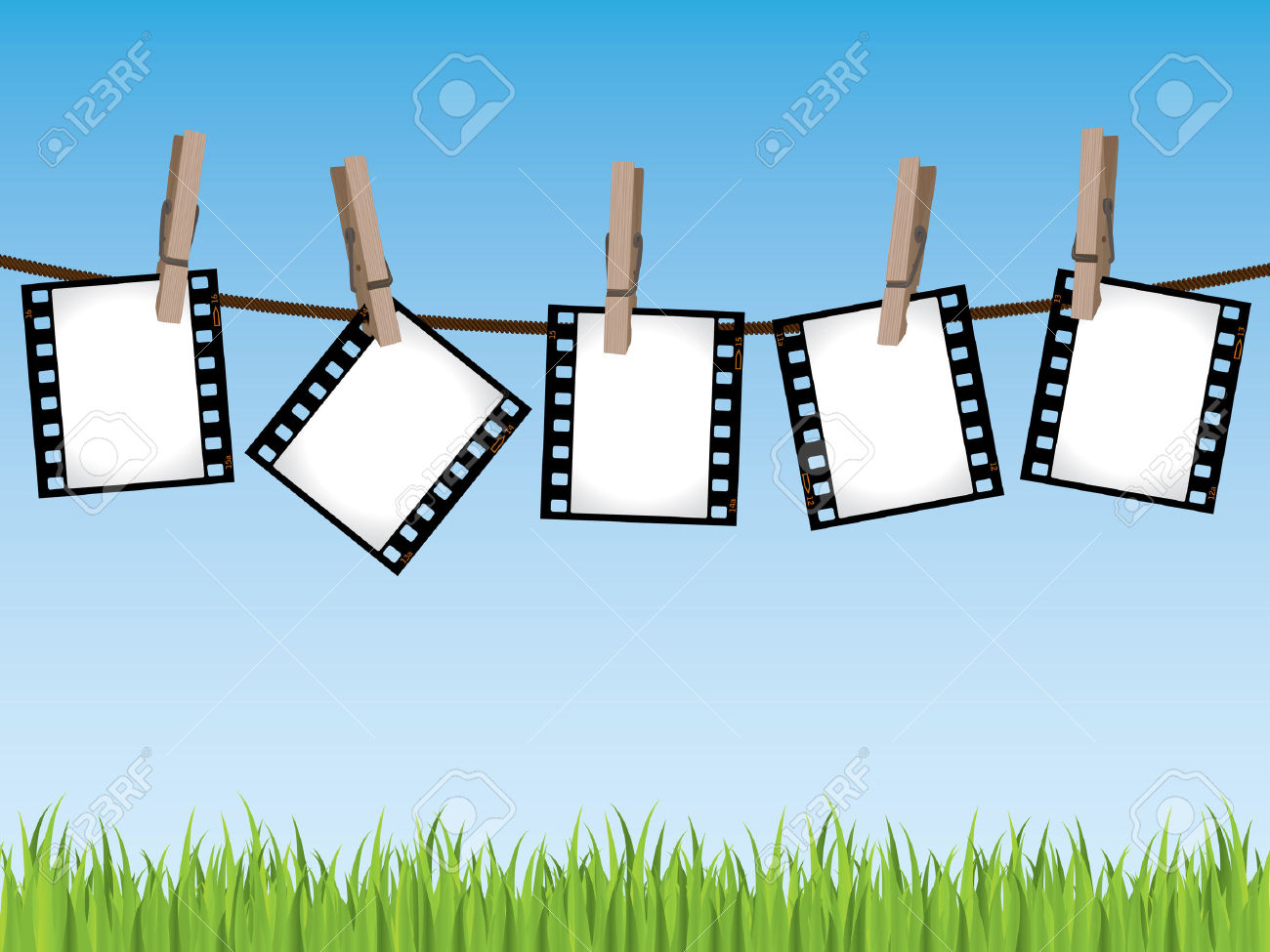 Film Strips Hanging On A Line Royalty Free Cliparts, Vectors, And.