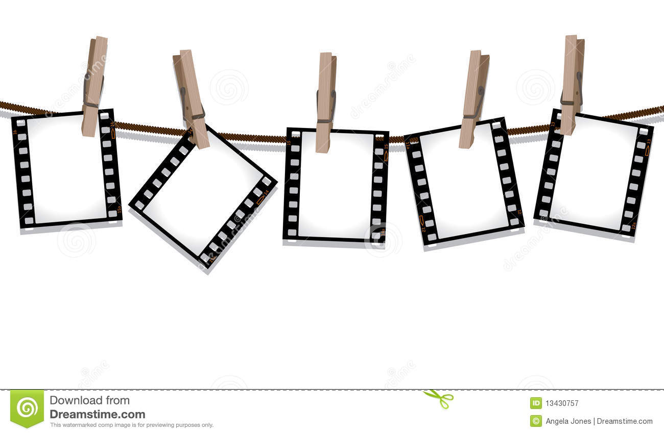 Film Strips Hanging Out To Dry Royalty Free Stock Photography.