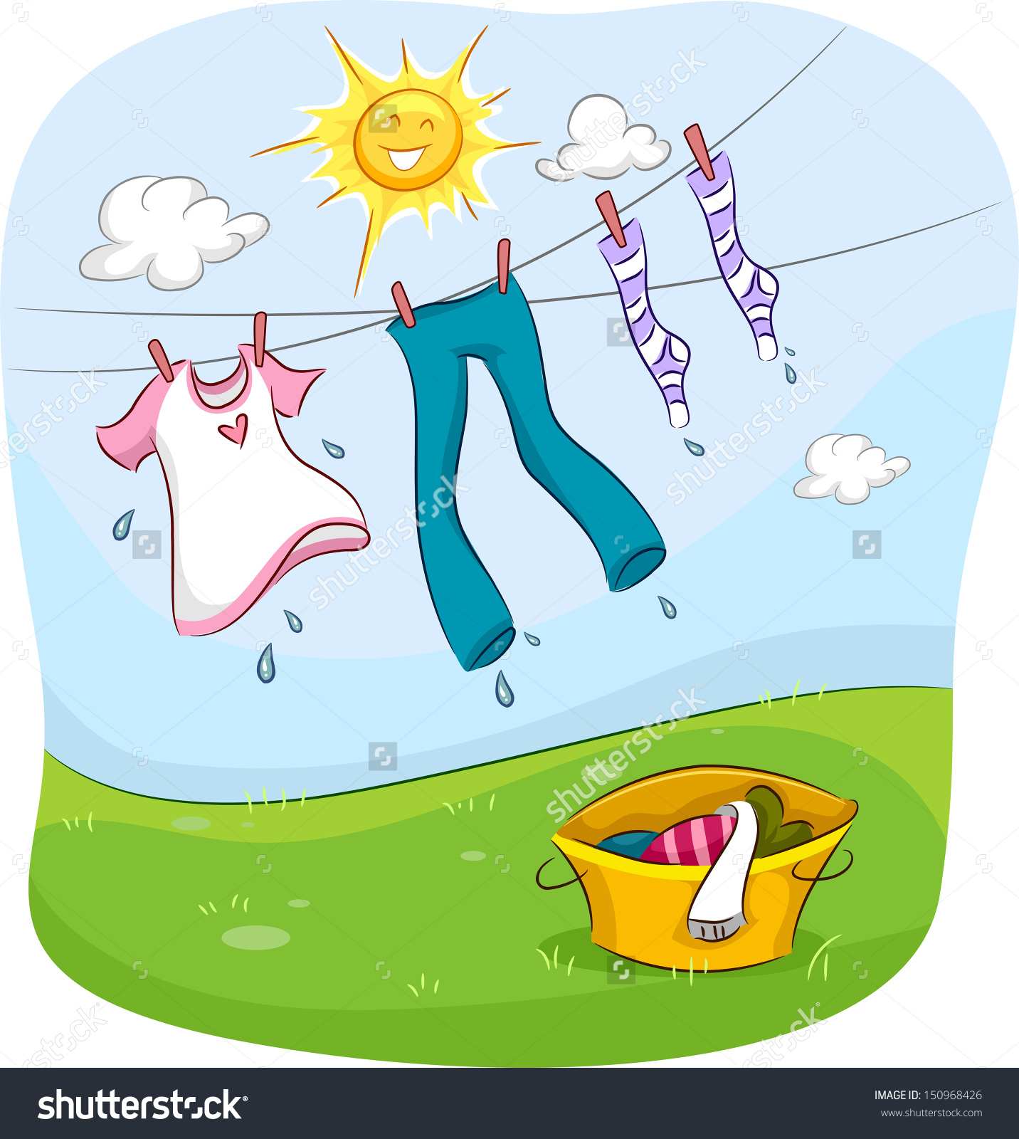 Clothes Dryer Clip Art ~ Dry laundry clipart clipground