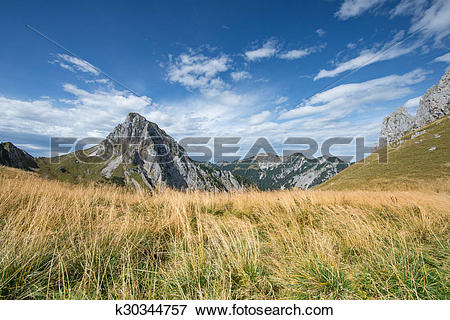 Picture of rocky summit of tyrol mountain with dry meadow and blue.