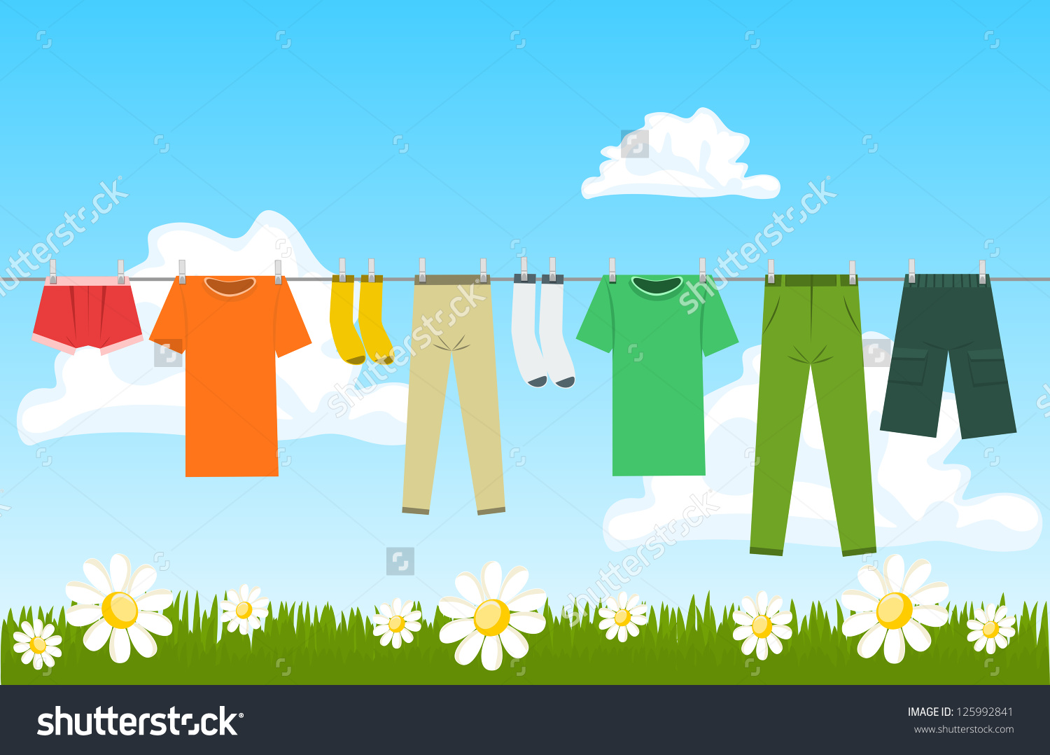 Illustration Clothes Drying Outdoor Stock Vector 125992841.