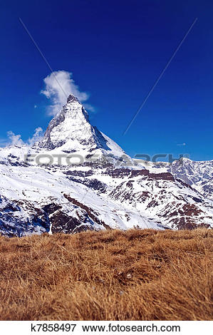Picture of Landscape of Matterhorn peak with dry meadow located at.