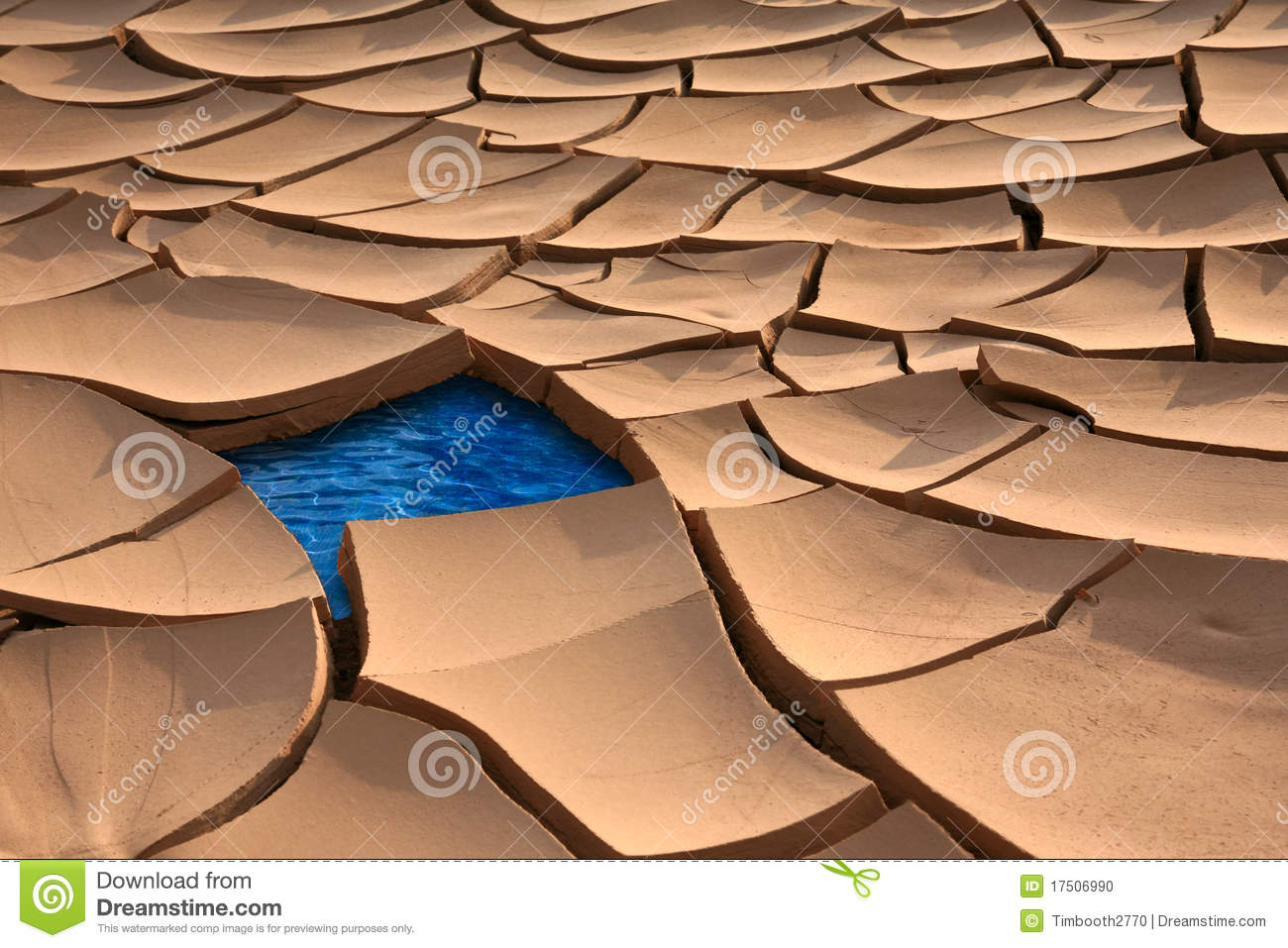 Dried River Bed With Water Stock Photo.