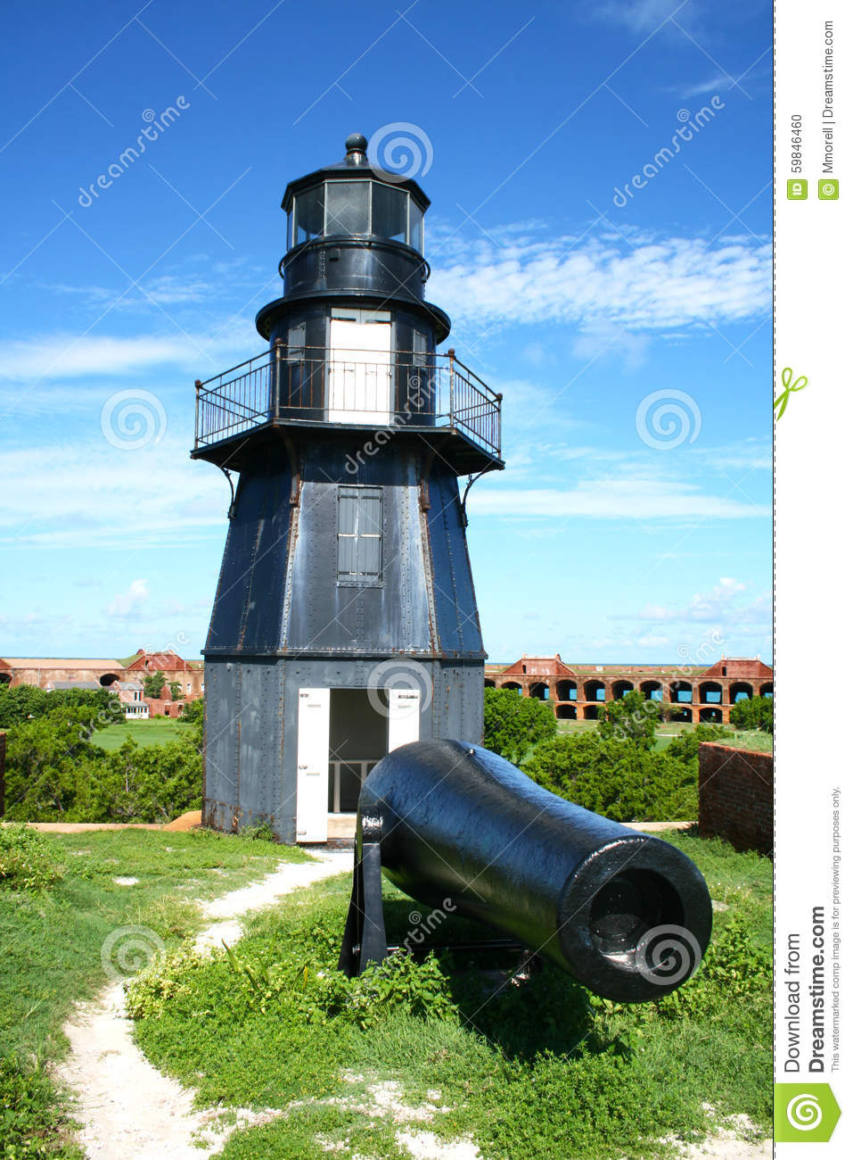 Fort Jefferson Lighthouse And Cannon, Dry Tortugas, Florida Stock.