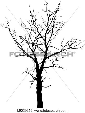 Clipart of Vector bare old dry dead tree silhouette without leaf.