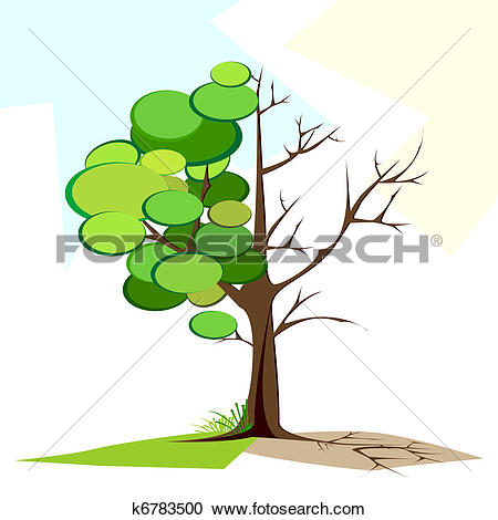 Clipart of Green and Dry tree k6783500.