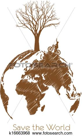 Clip Art of Save the earth, Dry tree on globe. k16663968.