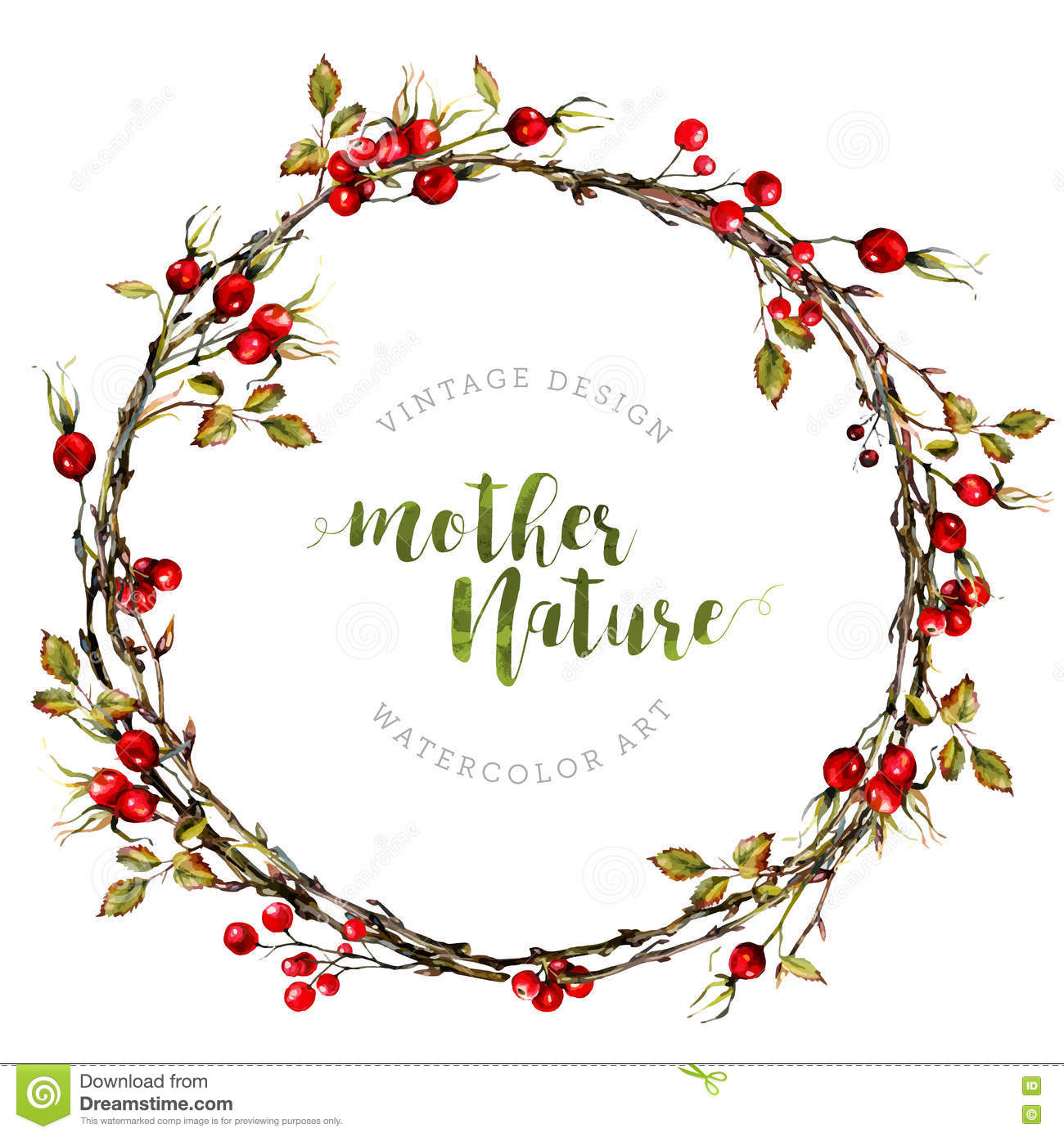 Watercolor Boho Wreath Made Of Dry Twigs Stock Vector.