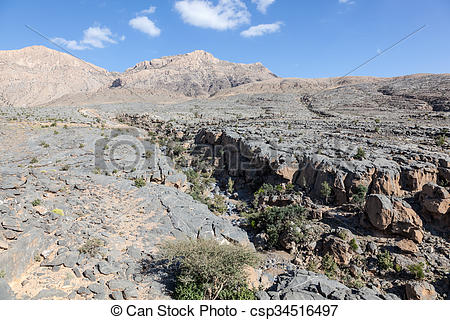 Stock Photographs of Wadi in Oman, Middle East.