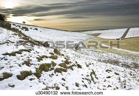 Stock Photo of England, West Sussex, Devil's Dyke. Winter sunset.