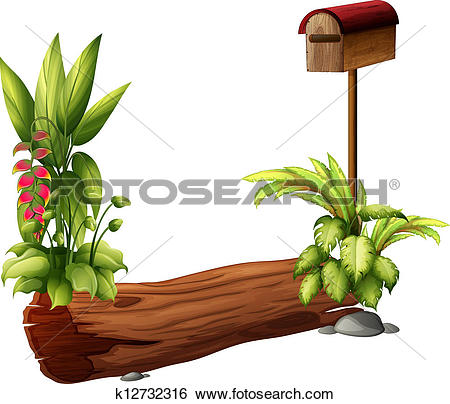Clip Art of A letter box and a dry wood piece k12732316.