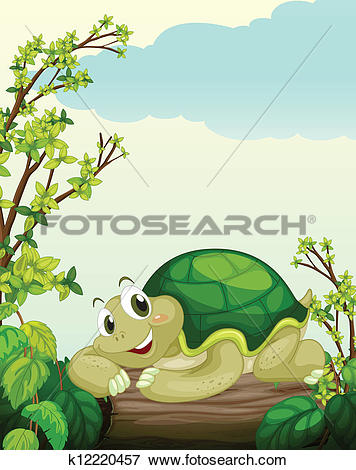Clip Art of A turtle lying on dry wood k12220457.