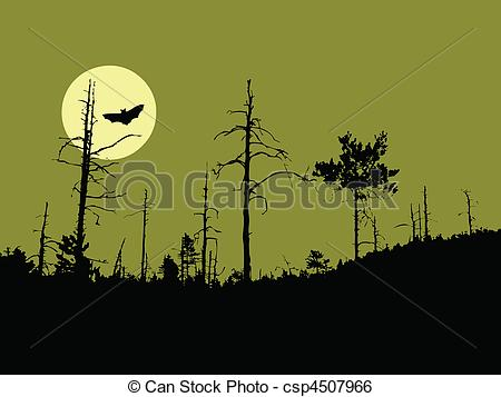 Clip Art Vector of vector silhouette old dry wood csp4507966.