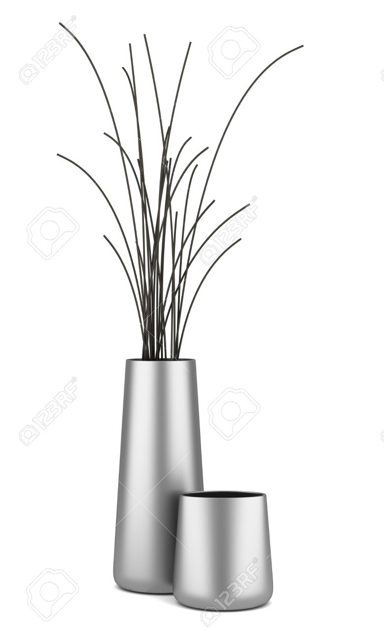 Two Chrome Vases With Dry Wood Isolated On White Background Stock.