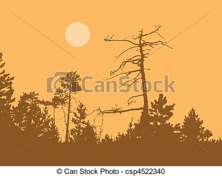 Vector Clipart of vector silhouette dry tree in wild wood.